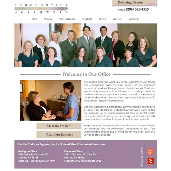 Endodontics Northwest Picture of Website Home Page  - Websites for Endodontists by WEO Media