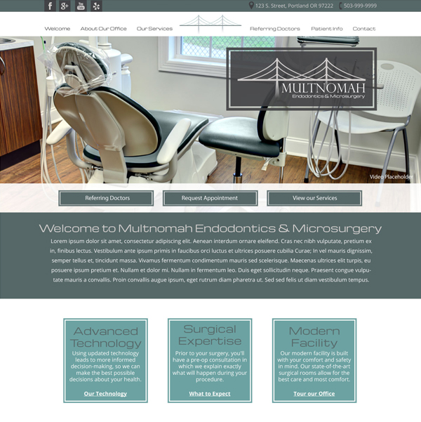 Multnomah Endodontics & Microsurgery Picture of Website Home Page  - Websites for Endodontists by WEO Media