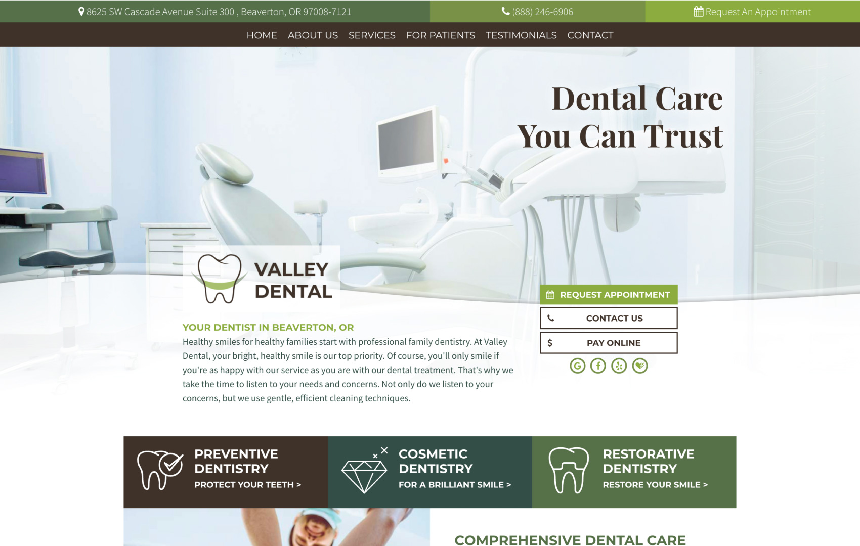 This is an example of our design called Valley Dental