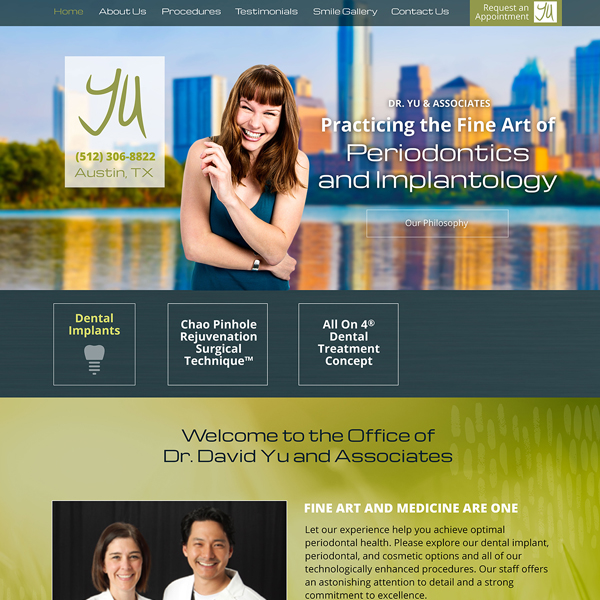 Dr. Yu - Periodontist Website Design by WEO Media