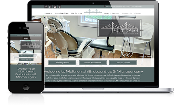 Photo of a endodontist's website on a laptop and phone