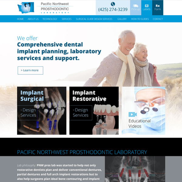PNW Pros Dental Lab Picture of Website Home Page  - Websites for Dental Labs by WEO Media